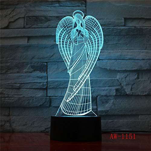 Alas de ángulo 7 Cables de Cambio de Color Niños Mesita de Noche Accesorios de iluminación remota Visión 3D USB Lámparas de Escritorio Decoración para el hogar Luces nocturnas 5 Sin Controlador