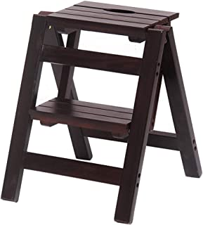 Taburete de Escalera portátil Silla Plegable Escalera Ascendente de Madera Hogar Cocina Baño Biblioteca 2/3 Escalera de Paso Carga máxima 150 kg (Soporte marrón)