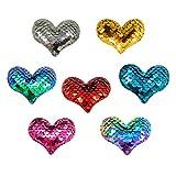 SUPVOX 7pcs lentejuelas corazón parches de hierro en parches apliques para ropa chaquetas Jeans (color mezclado)