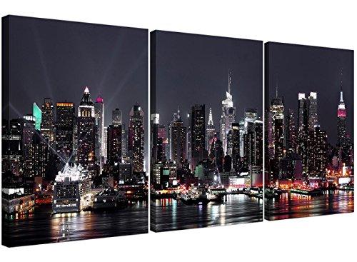 Wallfillers 3187 Lienzo del skyline de Nueva York, tamaño grande, divido en 3paneles, diseño moderno, ideal para la oficina