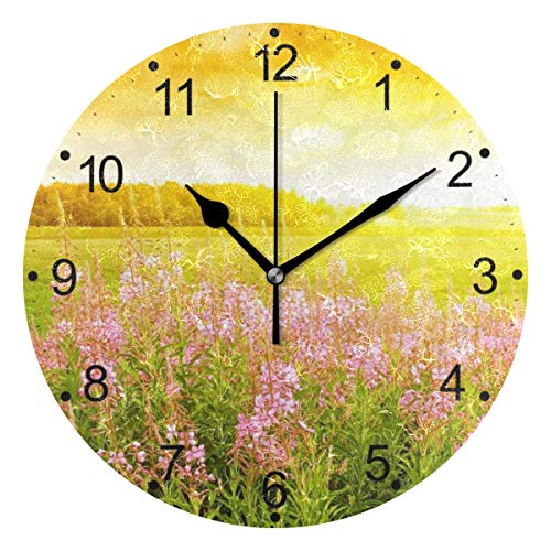 DragonSwordlinsu COOSUN - Reloj de pared con diseño de campo de flores, silencioso, acrílico, decorativo, 25,4 cm, para casa, oficina, escuela