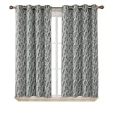 Deconovo Grommet Thermal Insulated Curtains with Painting Pattern Total Blackout Curtain Panels with Triple-Pass White Coating Back Layer for Bedroom Grey 2 Curtain Panels 52 X 54 Inch