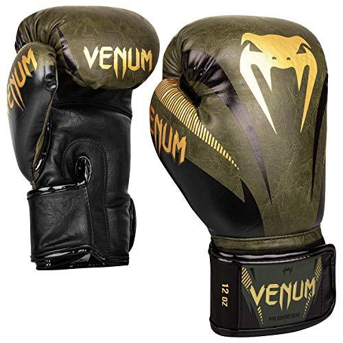 Venum Unisex– Erwachsene Impact Boxhandschuhe, Khaki grün/Gold, 10 oz