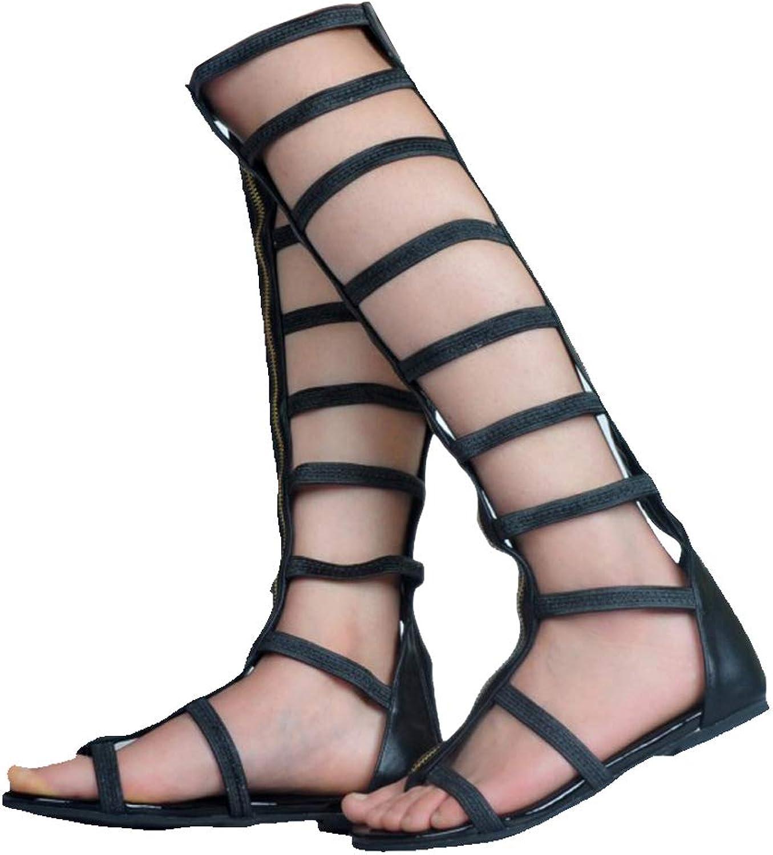 Kolnoo Damen Handgefertigte Cut-Out Reiverschluss Closure Fashion Flats Sandalen Stiefel