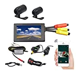 VGSION WiFi Waterproof Dual Lens Motorcycle DVR Camera Recording System with 3 inch Monitor (Front and Rear Camera)