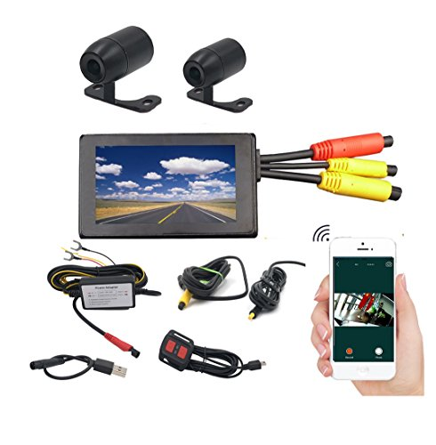 VGSION WiFi Waterproof Dual Lens Motorcycle DVR Camera Recording System with 3 inch Monitor (Front...