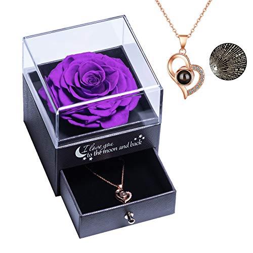 Yamonic Echte Rose mit Liebe Sie Halskette Schmuck Geschenk für sie, Ewige Liebe Rose zum Valentinstag Muttertag Jubiläum Geburtstags Geschenk Geschenk für Frauen, Freundin, Frau, Mutter - Lila