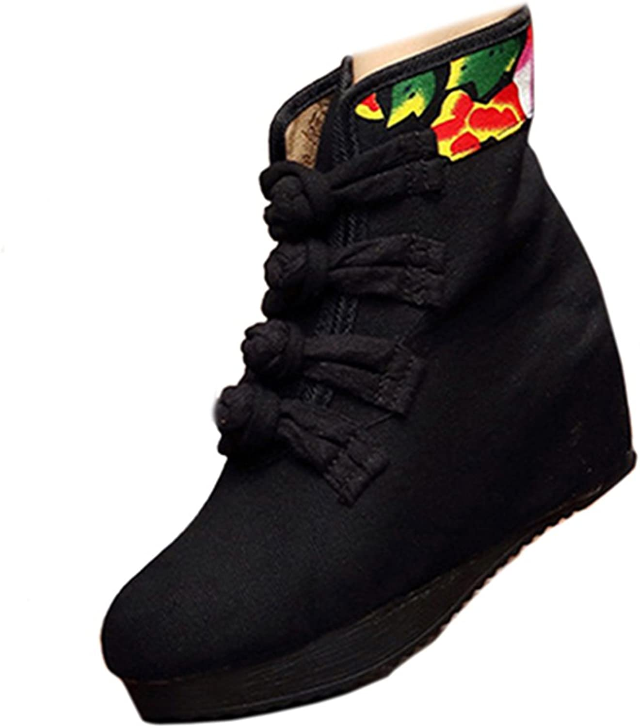 Shenghuajie Four shoeslace Vintage Beijing Cloth shoes Embroidered Boots Macrame Black Thin shoes