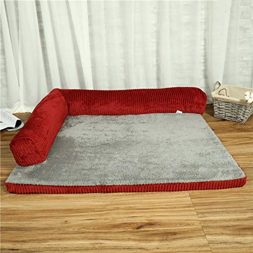 RLXDPP Anti-resbalón Limpieza Fácil Sofá Ortopédico Cama Perro Cama para Mascotas,Calmante Donut Cama para Gato Tejido Duradero Cama Perro para Perro Gatos-Rojo Bilateral 110cm(43inch)