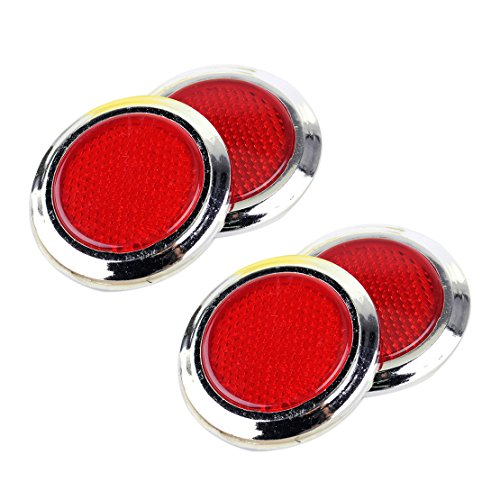 CITALL 4pcs rojo cromo plateado redondo coche reflectante adhesivo reflector