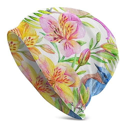 Azul Floral Acuarela Alstroemeria Flores Mujeres Ponytail Beanie Sombrero de punto Invierno Cálido Desordenado Bun Hat Cap Stretch Crochet Hecho a Mano Beanie para Mujeres Señoras
