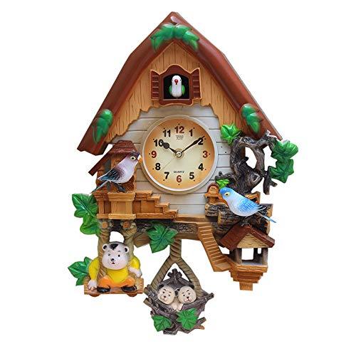 ZHANGZHIYUA Reloj De Cuco - Reloj Vintage De Madera De La Casa del Árbol De Cuco para Sala De Estar, Dormitorio Infantil, Decoración De Oficina (12 In)