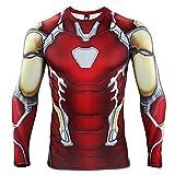 HIMIC E77C Hot Movie Super Hero Quick-Drying ElasticT-Shirt Costume (Small, Iron Long Sleeve 4)