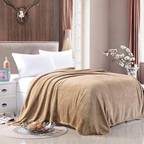 NS Couverture Couvertures Souples Flanelle Lits for Solide Couleur D'été Throw Hiver Sofa Couvre-lit Chunky Couvertures Kit Maison (Color : Rice Camel, Size : 180x200cm)