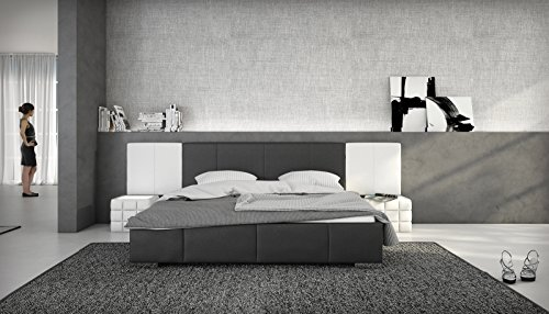 SAM Polsterbett 140x200 cm Natal, schwarz/weiß, abgesteppte Fuß- und Seitenteile, Bett aus Kunstleder, hohe Rückenlehne
