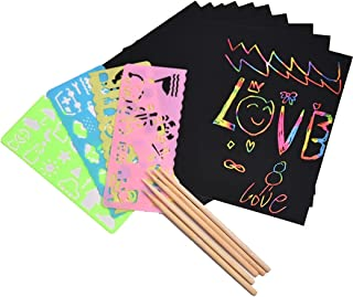 Lnrueg Scratch Paper Set Educational Funny DIY Reusable Portable Scratch Art Kit Board Note Party Doodle Pad Craft