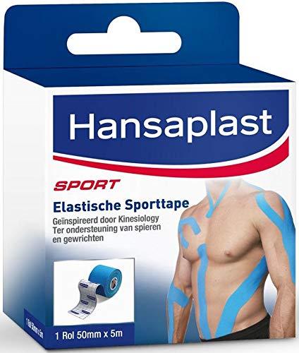 2 x Hansaplast Elastic Sports Tape 1 Rolle (5m x 5cm)- zur Unterstützung von Muskeln und Gelenken - blau
