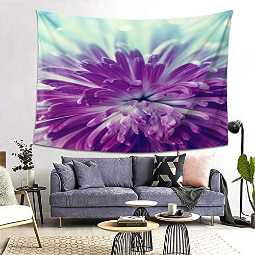 Tapiz Tapestry Wall Hanging Bedding Tapestry,Dahlia,Radiant Violet Colored Blooming Dahlia CloseUp With Petals In Pale Sunshine,Beach Throw Tapestry Table Cover Curtain Home Decoration Wall Art