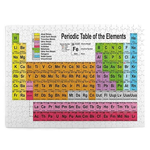 Popsastaresa Puzzles 500 Stück, Periodensystem Wissenschaft Freak Chemie Liebhaber Bunte Elemente Tisch Spaß Lernen, große Familie Puzzle Spiel Artwork für Erwachsene Jugendliche