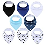 YiXing 8 baberos para bebés recién nacidos baberos bandana baberos súper suaves para niños y niñas 100% algodón orgánico (color AP8019)