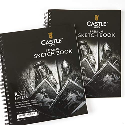 "Castle Art Supplies Artists Sketch Books (2 Sketch Pad Pack) 9"" x 12"