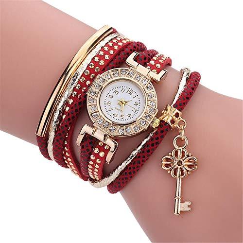 ZSDGY Creative Fashion Ladies Winding Bracelet Watch, Reloj de Cuarzo Colgante con Llave Dorada F