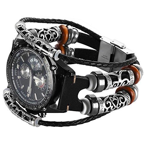 Gear S3 Bracelet en cuir Noir,Samsung Gear S3 Frontier Classic Bande Remplacment,Vintage Bracelet de montre avec accessoires en métal