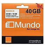 Orange - Tarjeta SIM Prepago (Mundo-20) - 40 GB en España   Llamadas Nacionales 3000 Minutos   Activación Online   9,5 GB Roaming en Europa   Velocidad 4G