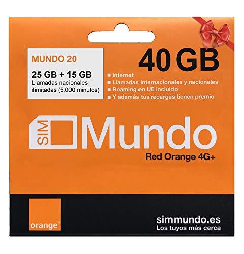 ORANGE Spanien - Prepaid SIM Karte (Mundo-20) 40 GB in Spanien   Unbegrenzte Inlandsgespräche   9,5 GB Roaming in Europa   Online Aktivierung   4G Geschwindigkeit
