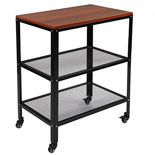 TUFFIOM 3-Tier Kitchen Microwave Cart, Rolling Kitchen Utility Cart, Standing Bakers Rack Storage Cart with Metal Frame for Living Room (Brown)