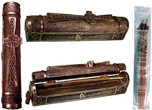 Nose Desserts Celtic Cross Design Coffin Box Stick and Cone Incense Burner-Ashcatcher