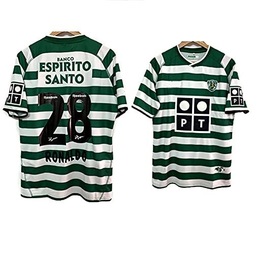 03-04 Temporada Sporting Retro Jersey De Fútbol, Lisboa Camiseta Lion Sudaderas, Traje De Entrenamiento De Legión Verde y Blanco, Uniforme De Fútbol Green White-XXL