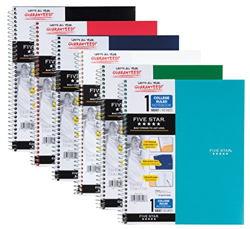 """Five Star Spiral Notebook, 1 Subject, College Ruled, 11"""" x 8-1/2"""", Assorted Designs, 6 Pack (38840)"""