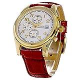 Reloj Lukado con cronógrafo con fecha, chapado en oro