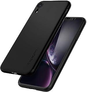 ايفون XR , iPhone XR , كفر رفيع من سبيجن ثين فيت 360 مع إطار رفيع لحماية الكفر و لاصق حماية شاشة زجاجي أسود