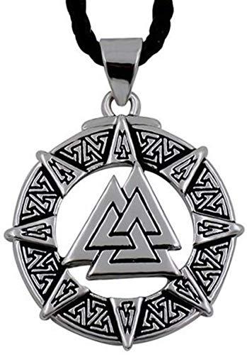 Presentes para homens, colar com pingente Vikings, unissex de mitologia nórdica Valknut Runa de aço inoxidável, joia de presente celta pagã vikings