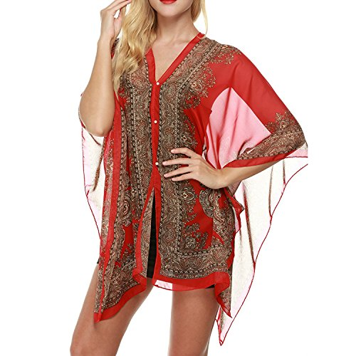 Anshili Damen Strandtunika Poncho Bikini Kleid Chiffon Sommerkleid Beachwear Blumen Druck Cover-Up One-Size (A)