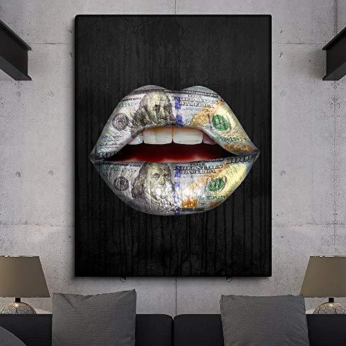 Rahmenlose Malerei Leinwand Wandkunst Poster und Bilder von Lippen Wohnkultur Wohnzimmer WandbilderZGQ6377 50X70cm