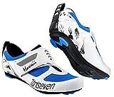 TriSeven Premium Triathlon Fahrradschuhe - Ultraleichte, atmungsaktive und Fiberglas Sohle | Der schnellste Schuh in der Übergangszone! (41 EU, Blau)