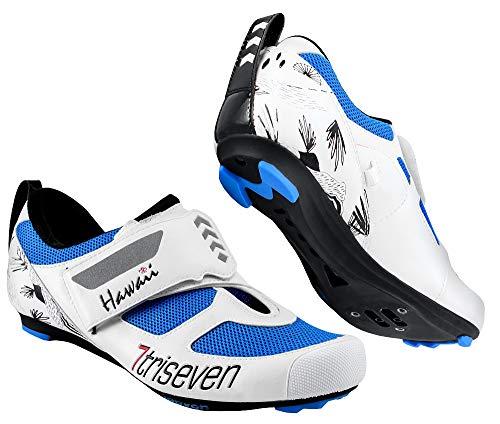 TriSeven Premium Triathlon Fahrradschuhe - Ultraleichte, atmungsaktive und Fiberglas Sohle | Der schnellste Schuh in der Übergangszone! (43 EU, Blau)