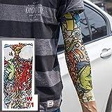 4 Piezas Falso Tatuaje Temporal Mangas Tatuajes Completo Largo Deslizamiento en el Brazo Tatuaje Manga Kit Hombres elásticos Guantes de Nylon Tatuajes Negro cráneo diseño w71 40x8.4cm