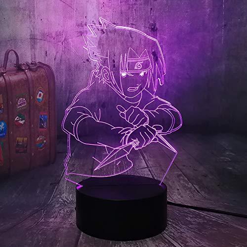 Naruto Uchiha Sasuke Anime Figura 3D LED luz nocturna 7 colores USB mando a distancia RGB Lámpara de escritorio bebé niños cumpleaños juguete Navidad dormitorio decoración