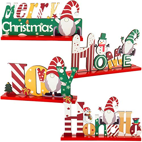 Set of 4 Christmas Gnome Wooden Centerpiece Sign- Merry Christmas Table Toppers Table Signs with Xmas Theme Swedish Tomte Shaped Ornaments for Winter Christmas Party Table Top Holiday Decoration