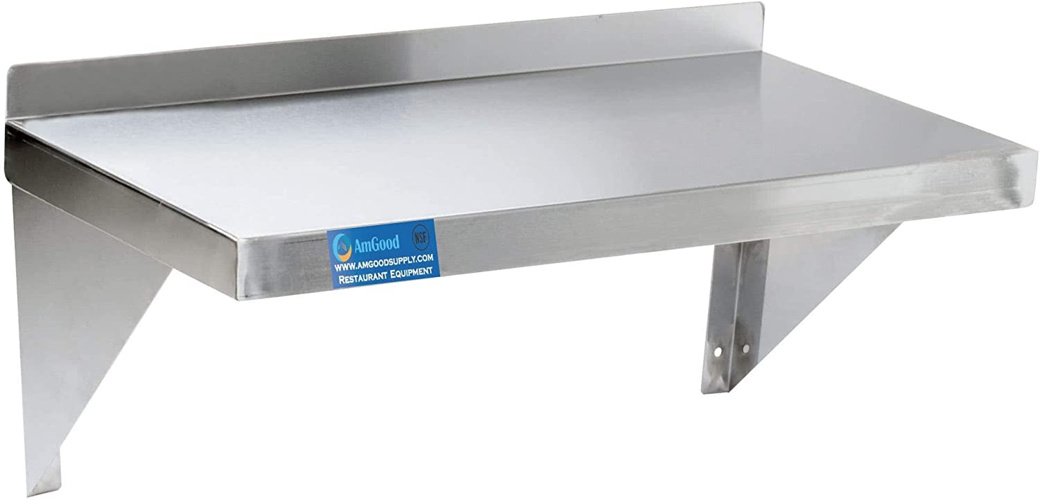 AmGood 12  Width x 24  Length   Stainless Steel Wall Shelf   Square Edge   Metal Shelving   Heavy Duty   Commercial Grade   Wall Mount   NSF Certified