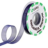 Lkitty 1/2 inch x 50yd/Roll Fabric Chiffon Organza Ribbon -Shimmer Sheer 100% Polyester Fiber Width:13mm (azul marino-370#)