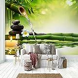 Fotomural - Caña de bambú agua que fluye piedra negra - 280x200cm (110X78 inch) - Papel Pintado Salón Dormitorio Despacho Pasillo Decoración murales decoración de paredes moderna