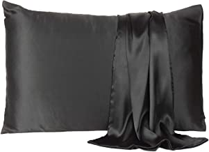 Satin Pillow Cover Pillowcase Soft & Comfortable Silky for Hair & Skin Home Decor (Black, Standard Size,20X26 INCHES)