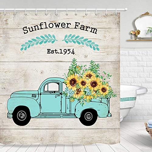 Sonnenblumen-Duschvorhang, gelbe Blumen auf Pickup-Truck mit Buchstaben