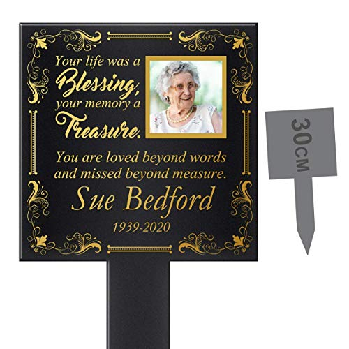 Personalised Your life was a blessing, your memory a Treasure. Add your own Photo & Text Memorial Date Grave Marker Stake UV Printed Acrylic Outside