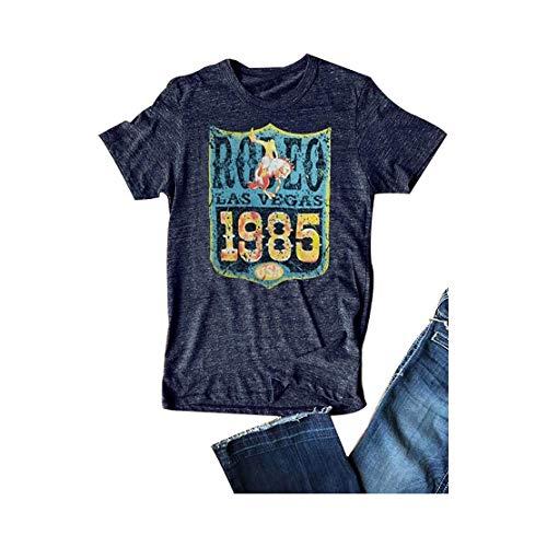 80s Shirt Rodeo Las Vegas 1985 USA Vintage T Shirt Women Short Sleeve Casual Tee Size S (Deepblue)